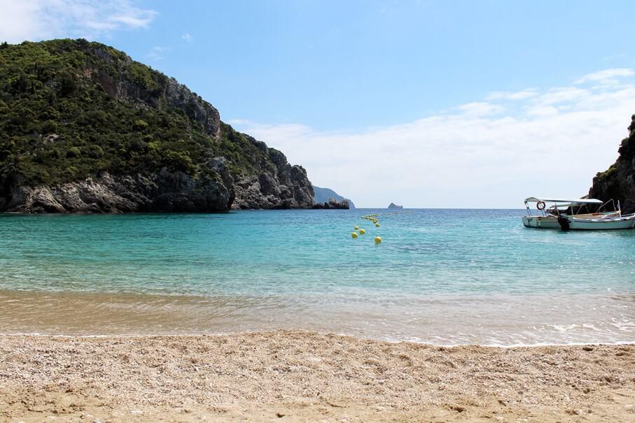 Paleokastritsa sandy beach