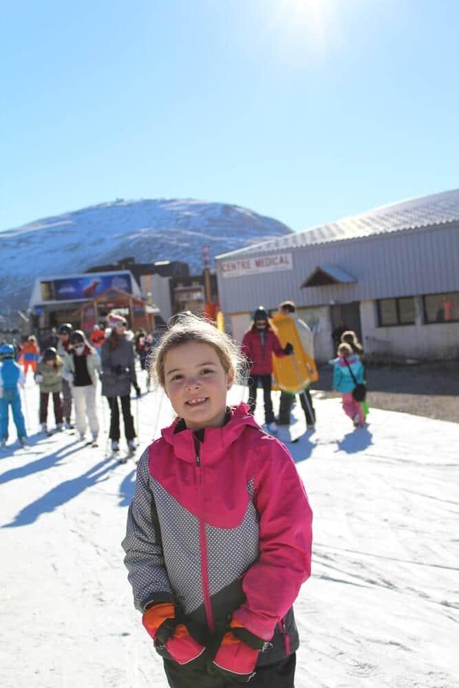 Beginners skiing