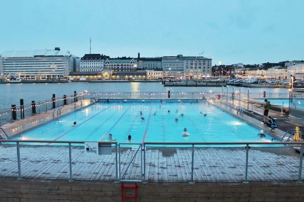 The heated pool at Allas Sea Pools