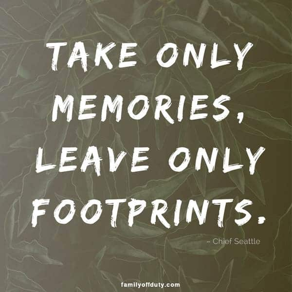famous travel quotes - take only memories, leave only footprints.